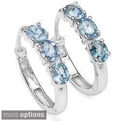 Malaika Sterling Silver Gemstone Hoop Earrings