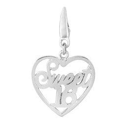Sterling Silver 'Sweet 16' Heart Charm