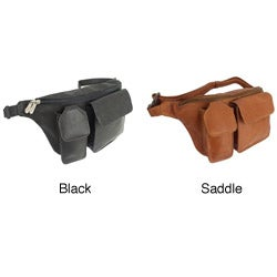 Piel Top-grain Leather Adjustable Zip-pocket Waist Bag Fanny Pack