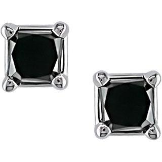 Haylee Jewels 14k Gold 1/4ct TDW Black Diamond Earrings