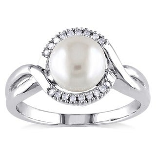 Miadora Sterling Silver Cultured Freshwater Pearl and Diamond Ring (7-8 mm)