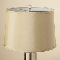 Crystal Column Table Lamp w/ Tan Shade