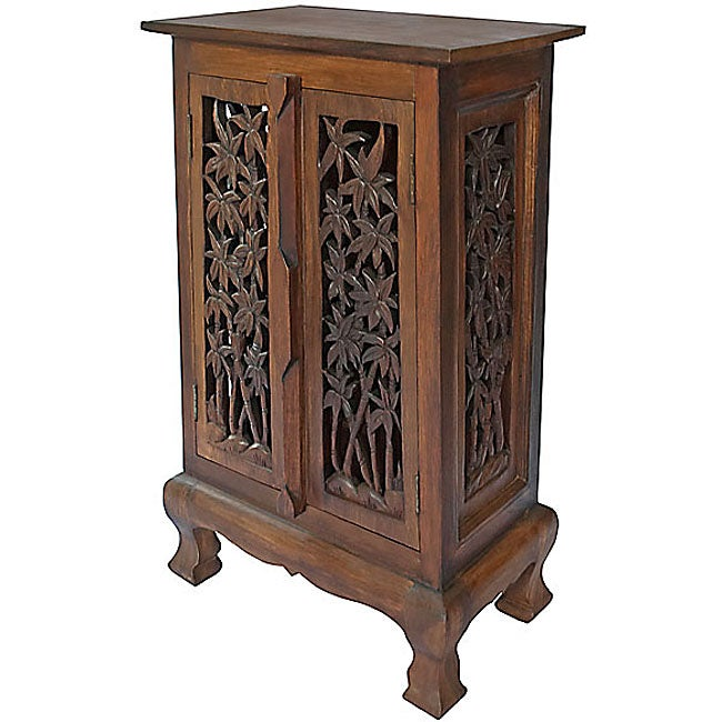 Carved Bamboo Tree Storage Cabinet End Table Overstock