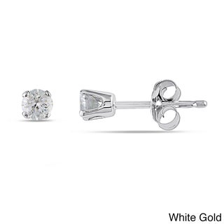 Haylee Jewels 14k Gold 1/4ct TDW Round Diamond Stud Earrings (I-J, I2-I3)