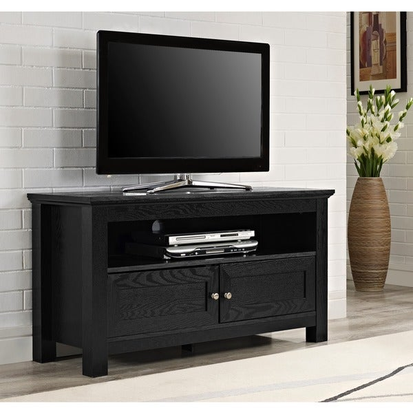 44 in. Black Wood TV Stand