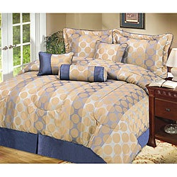 Newport Taupe and Blue Throw Pillow Set (Set of 3)