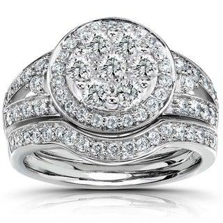 Annello 14k Gold 1ct TDW Diamond Bridal Halo Ring Set (G-H, I1-I2) with Bonus Item