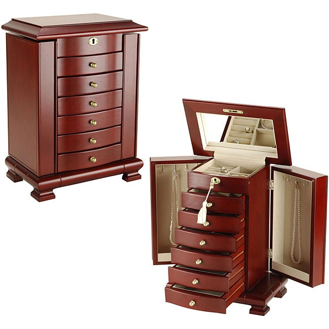 Lock and key cherry jewelry box overstock shopping for Jewelry box with key