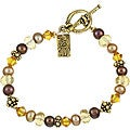 Charming Life Goldplated FW Pearl/ Crystal Asian Charm Bracelet