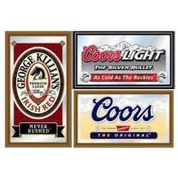 Officially Licensed Beer Mirrors in Wood Frame