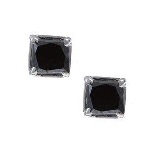 M by Miadora 14k Gold 1/2ct TDW Princess Black Diamond Earrings