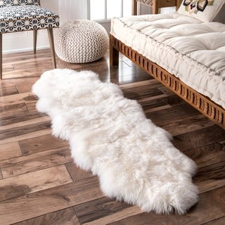 nuLOOM Alexa Double Natural Soft Sheepskin / Wool Shag Runner