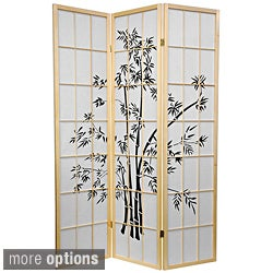 Wood and Rice Paper 6-foot Lucky Bamboo Room Divider (China)