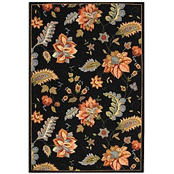 Safavieh Hand-hooked Botanical Black Wool Rug (7'9 x 9'9)