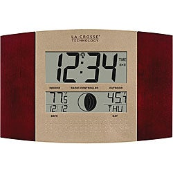 La Crosse Technology WS-8117U-IT-C Atomic Digital Wall Clock with Moon and Temperature