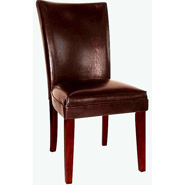 Brown Leather Dining Room Chairs: Empire Brown Bicast Leather Parson Chairs (Set Of 2