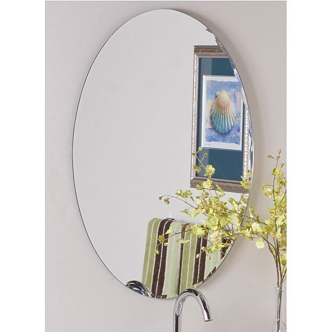 Overstock Mirrors: Frameless Oval Scallop Beveled Mirror
