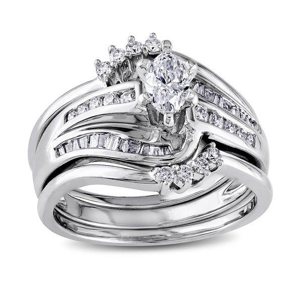 Miadora 14k White Gold 3/4ct TDW Diamond Bridal Set (H-I, I1-I2)