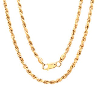 Sterling Essentials 14K Gold over Silver 20-inch Diamond-cut Rope Chain (2.8 mm)