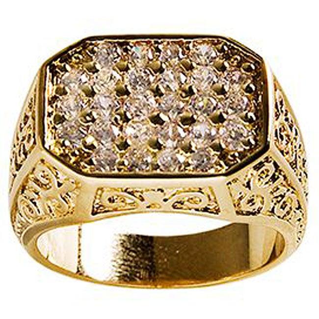 Simon Frank Mens .67 Equal Diamond Weight 14k Yellow Gold Overlay Pave CZ Men's Ring