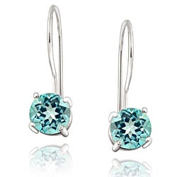 Glitzy Rocks Sterling Silver Euro Wire Blue Topaz Earrings