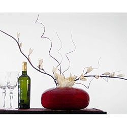 White Sword Lilies with Red Bamboo Vase