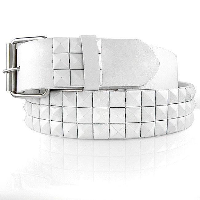 JK Belts Unisex Imitation Leather 3-Row White Metal Studded Belt