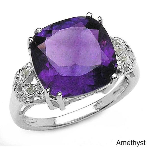 Malaika Silver Gemstone and Diamond Ring