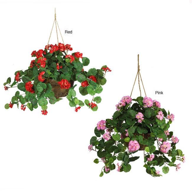 geranium silk plant hanging basket overstock shopping great deals on nearly natural silk plants. Black Bedroom Furniture Sets. Home Design Ideas