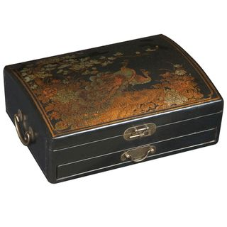 Handmade Black Leather Golden Peacock Jewelry Box