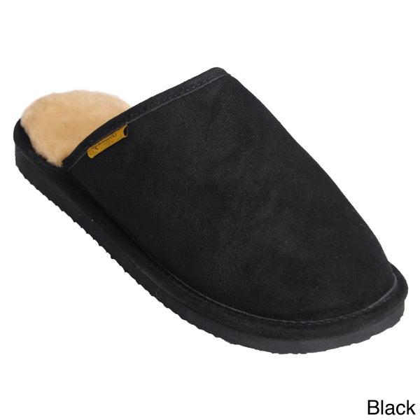 Brumby Men's Suede Fabric Genuine Backless Sheepskin Slippers