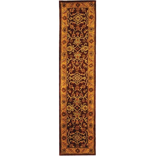 Safavieh Handmade Golden Jaipur Burgundy/ Gold Wool Runner (2'3 x 12')