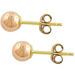 Fremada 14k Pink Gold 4-mm Ball Earrings