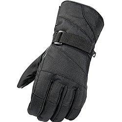 Black Weatherproof Leather/Nylon Ski Gloves with Hook and Loop Wrist Straps