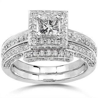 Annello 14k Gold 1 1/4ct TDW Diamond Halo Bridal Ring Set (H-I, I1-I2)