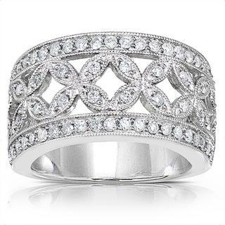 Annello 14k Gold 1/2ct TDW Diamond Floral Anniversary Ring (G-H, I1-I2)