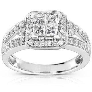 Annello 14k Gold 1ct TDW Quad Princess Halo Diamond Engagement Ring