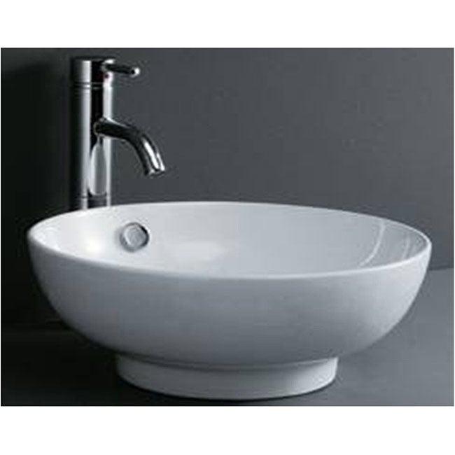 Round Porcelain White Bathroom Vessel Sink