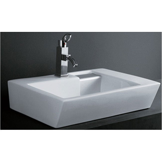 DeNovo Unique Rectangle Porcelain Bath Vessel Sink