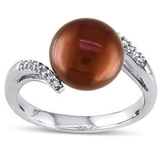 Miadora Sterling Silver Brown Freshwater Pearl and Diamond Ring