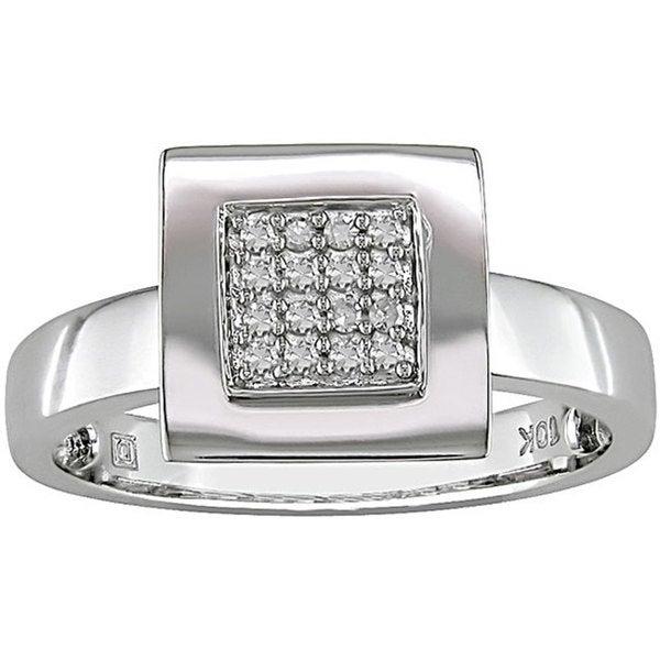 Haylee Jewels 10k White Gold 1/10ct TDW Square Diamond Ring