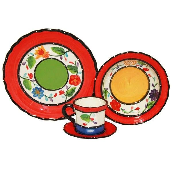 Viva Collection Hand-painted 16-piece Dinnerware Set