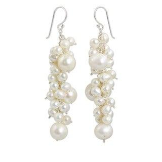 Sterling Silver 'Full Moon' Pearl Cluster Earrings (Thailand)
