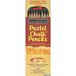 General Pencil Warm Pastel Chalk Pencils (Pack of 8)