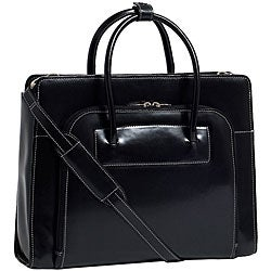 McKlein Women's Black Lake Forest Italian Leather Laptop Tote