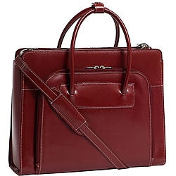 McKlein Women's Red Lake Forest Italian Leather Laptop Tote