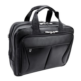 McKlein Black Pearson Expandable Double Compartment Briefcase