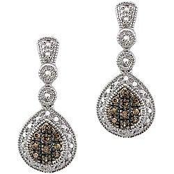 DB Designs Sterling Silver 1/5ct TDW Brown Diamond Dangle Earrings