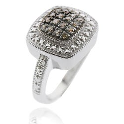 DB Designs Sterling Silver 1/5ct TDW Brown Diamond Square Ring