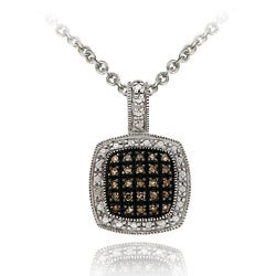 DB Designs Sterling Silver 1/4 TDW Brown Diamond Square Necklace